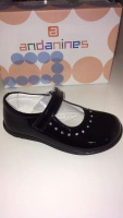 Girls Andanines Black Patent Shoes.
