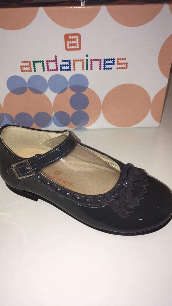 Girls Andanines Grey Patent Shoes