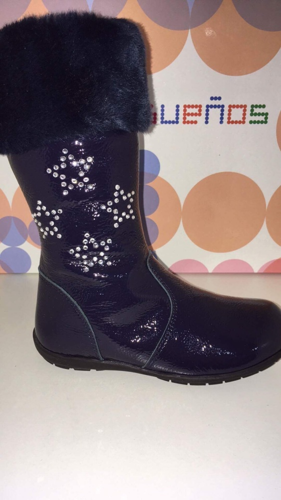 Girls Andanines Navy Patent Boots