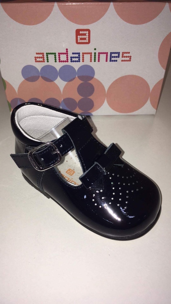 Girls Andanines Navy Patent Shoes