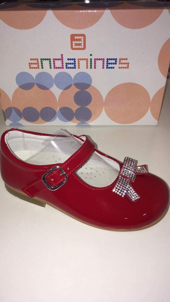 Girls Andanines Red Patent Shoes