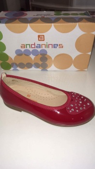 Girls Andanines Red Patent Shoes.