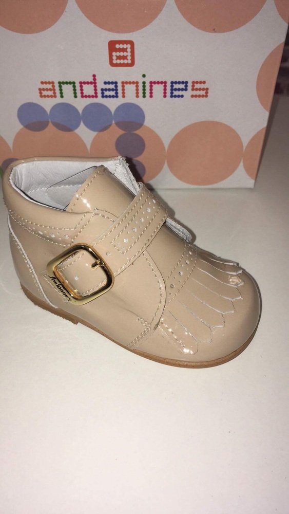 Boys Andanines Camel Patent Shoes