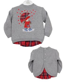 Girls Dr Kid Red Tartan and Grey Sweater DK311