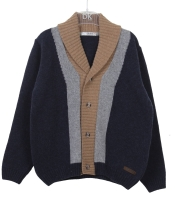 Boys Dr Kid Navy, Grey and Beige Cardigan DK630