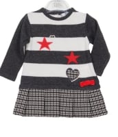 Girls Dr Kid Grey and White Dress DK381