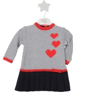 Girls Dr Kid Grey, Red and Navy Dress DK313