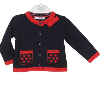 Girls Dr Kid Navy and Red Cardigan DK314