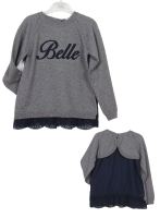 Girls Dr Kid Grey and Navy Top DK453