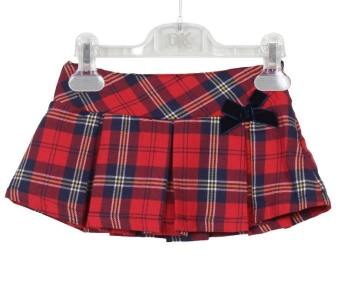 Girls Dr Kid Red Tartan Pleated Skirt DK317