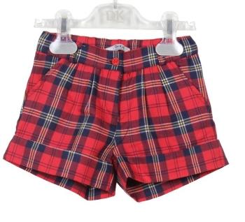 Boys Dr Kid Red Tartan Shorts DK416