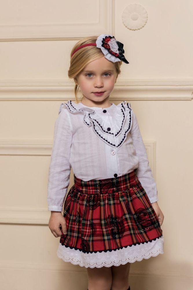 18c88446170ff5 Girls Dolce Petit Red Tartan Skirt Set 2258