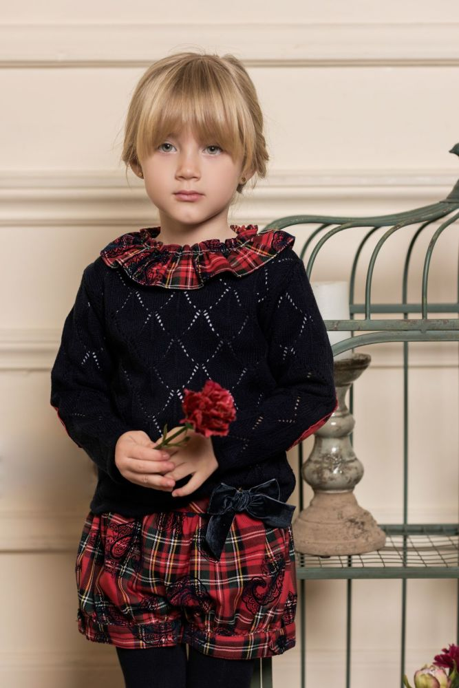 Girls Dolce Petit Red Tartan Shorts Set 2259 - PRE ORDER