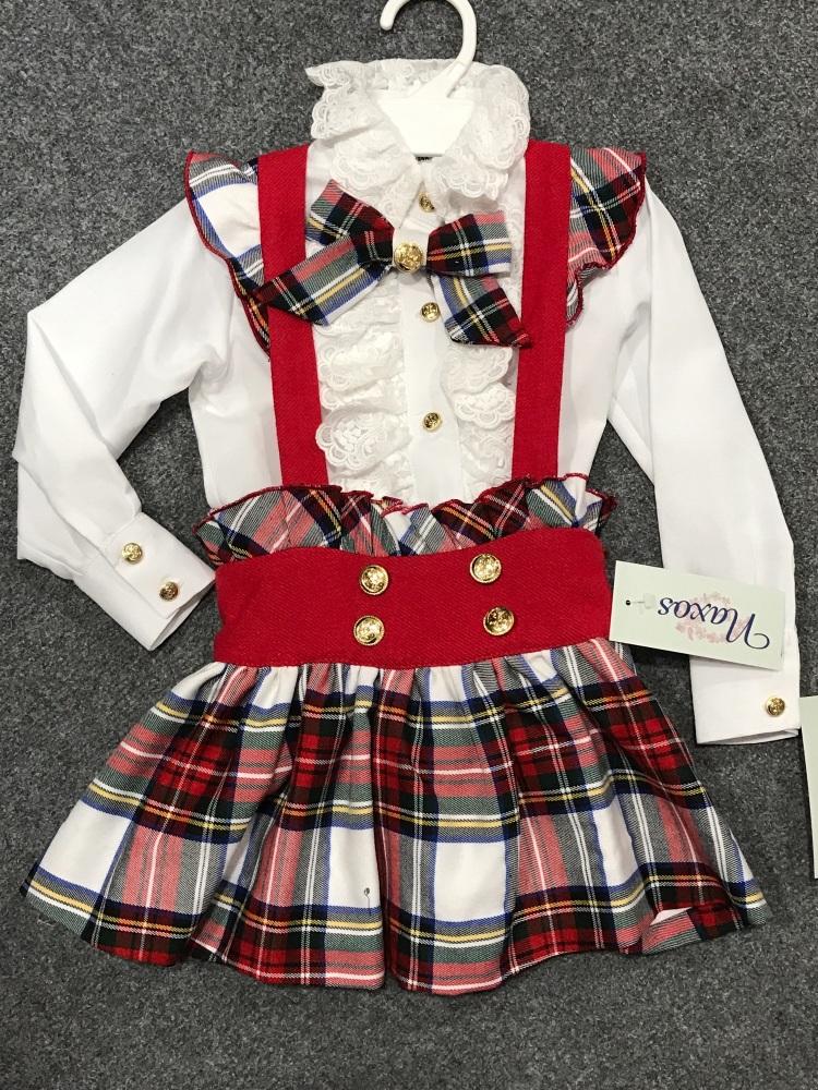 ef9f4712421302 Girls Naxos Red Tartan Skirt Set