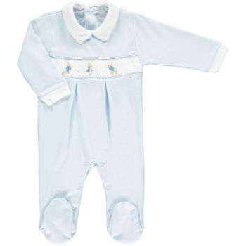 Peter Rabbit Collection Mini la Mode Peter Rabbit Smocked Footsie SLBC82A - Blue and White