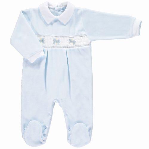 Boys Mini la Mode Smocked Velour Babygrow - Rocking Horse