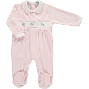 Mini la Mode Smocked Babygrow - Carousel Horse Pink