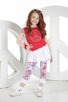 Girls A*Dee Peace and Love Collection Nadia Top and Leggings S194506 - 4 and 6 years remaining