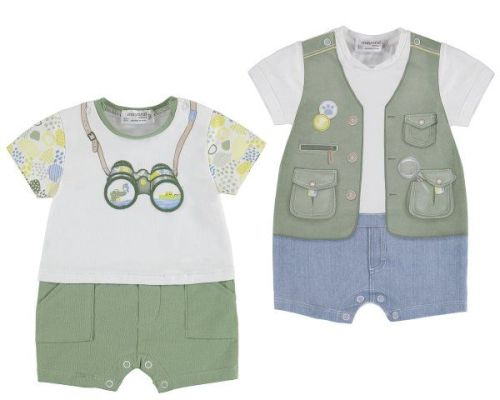 PRE ORDER SS19 Boys Mayoral Newborn Set of 2 Rompers 1733