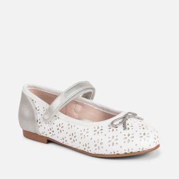 Girls Mayoral Shoes 43023 - White and Silver