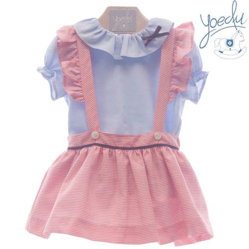 Girls Yoedu Blue and Red Skirt Set