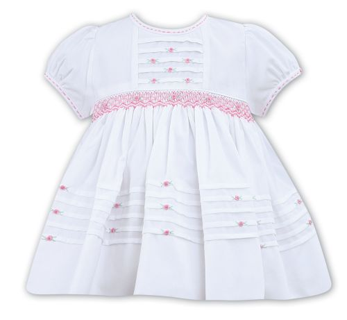 Girls Sarah Louise Dress 011480 - White and Pink