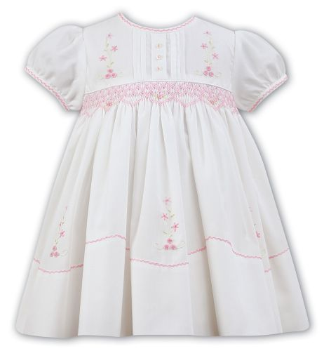 Girls Sarah Louise Dress 011475 - Ivory and Pink