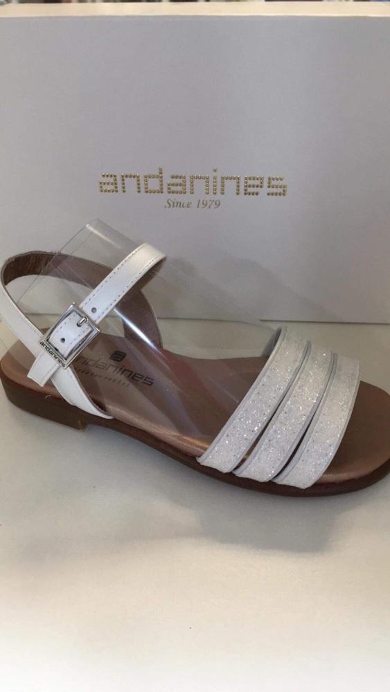 Girls Andanines Sandals White Glitter