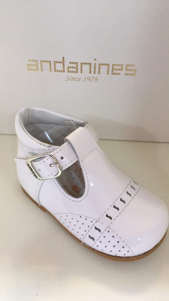 Boys Andanines White Patent Shoes