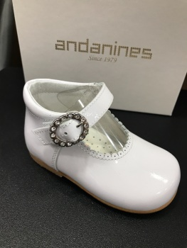 Girls Andanines White Patent Shoes