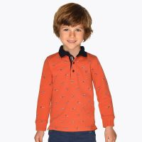 Boys Mayoral Long Sleeve Polo 4108 - Clay - Available in 8 years