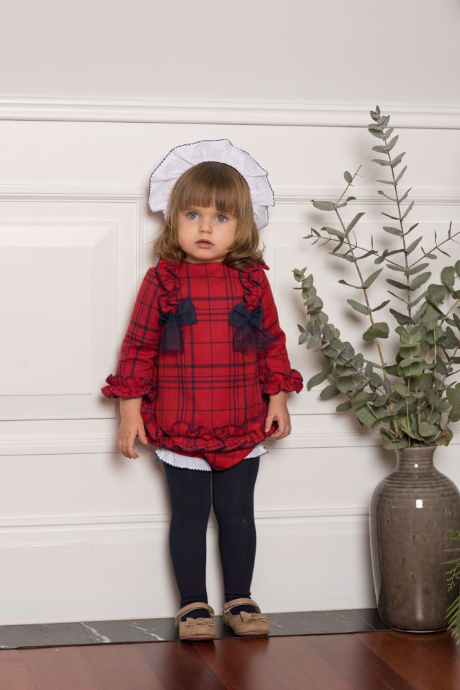 PRE ORDER AW19/20 Girls Dolce Petit Red and Navy Dress and Pants 2120