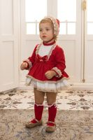 Girls Dolce Petit Red and Cream Dress and Pants 2156