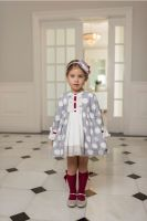 Girls Dolce Petit Grey and White Dress 2240
