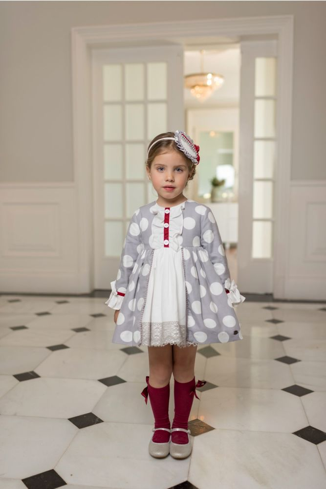 PRE ORDER AW19/20 Girls Dolce Petit Grey and White Dress 2240