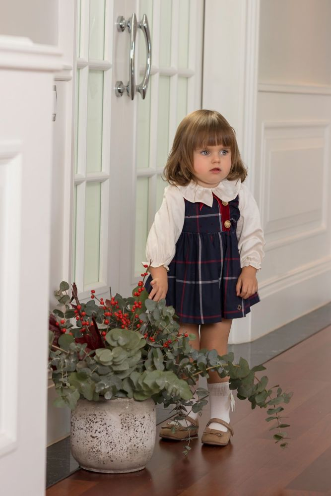 PRE ORDER AW19/20 Girls Dolce Petit Navy and Red Pinafore Dress, Blouse and
