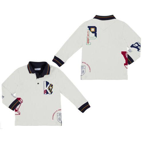 Boys Mayoral Long Sleeve Polo 4113 Cream