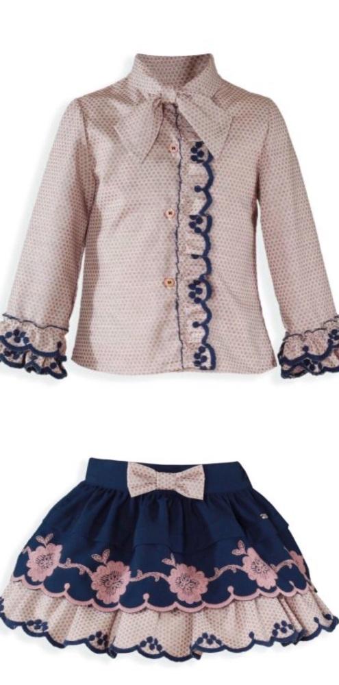 PRE ORDER AW19/20 Girls Miranda Navy and Pink Skirt Set 233