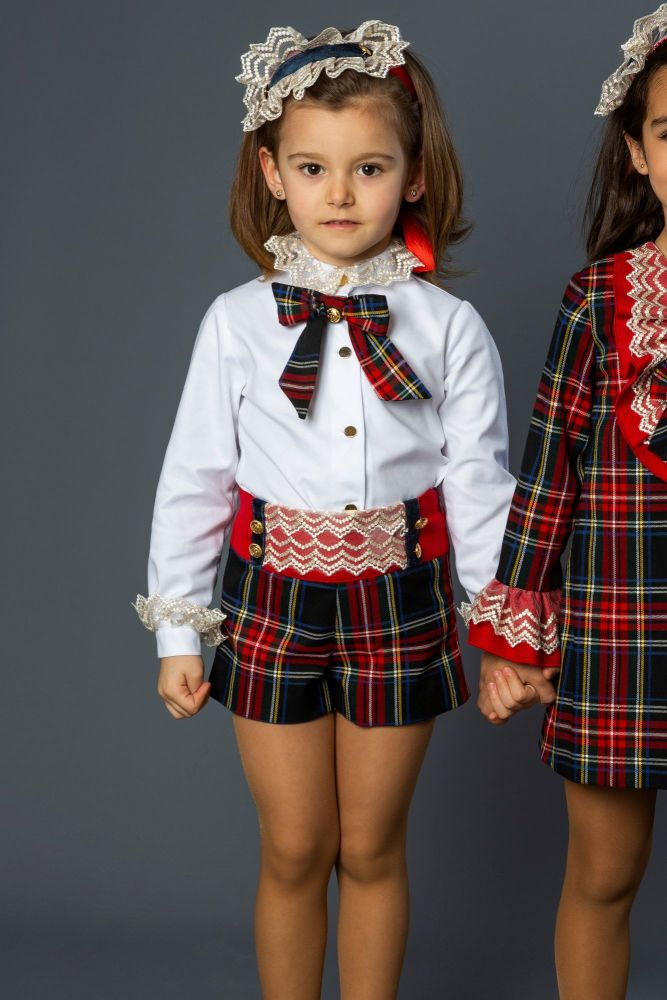 Girls Naxos Tartan Shorts Set 6457 6468