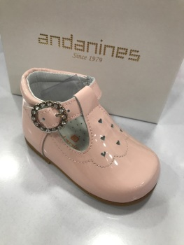 Girls Andanines Pink Patent Shoes