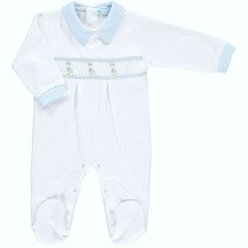Peter Rabbit Collection Mini la Mode Jemima Puddle Duck Smocked Footsie - White and Blue