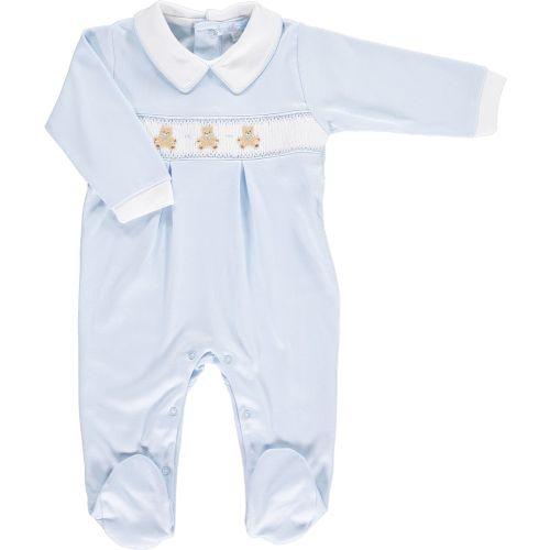 Mini la Mode Smocked Babygrow - Teddy Bears Blue