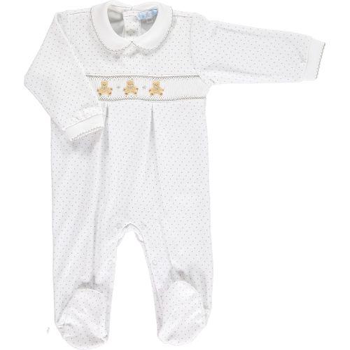 Mini la Mode Smocked Babygrow - Teddy Bears Grey Spots