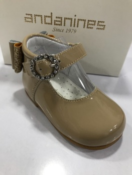 Girls Andanines Camel Patent Shoes 192830
