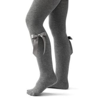 Girls Carlomagno Bow Tights - Grey