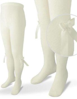 Girls Carlomagno Bow Tights - Cream