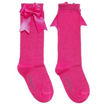 Girls Carlomagno Double Bow Socks - Fuscia Pink