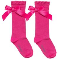 Girls Carlomagno Bow Socks - Fuscia Pink