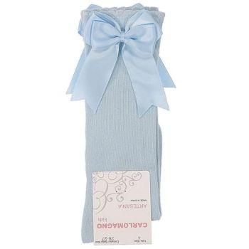 Girls Carlomagno Double Bow Socks - Blue