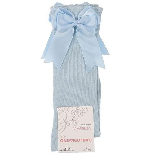 Girls Carlomagno Double Bow Socks - Blue